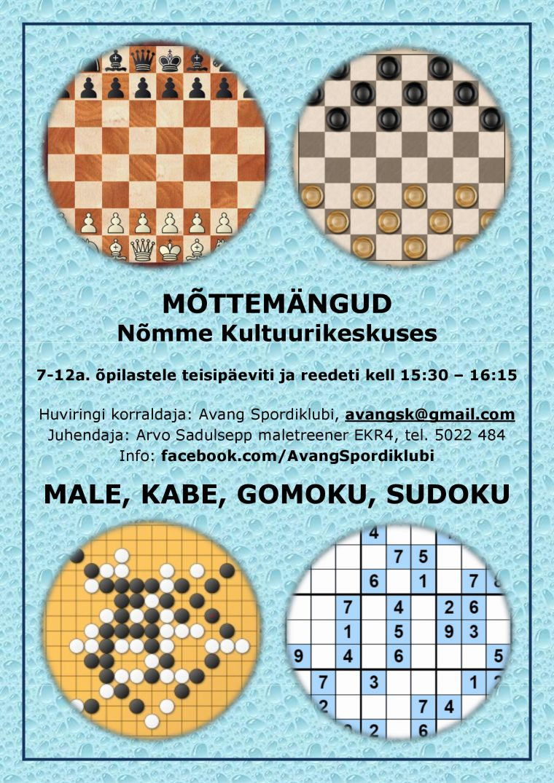 Mõttemängud – male, kabe, gomoku, sudoku 7-12 a