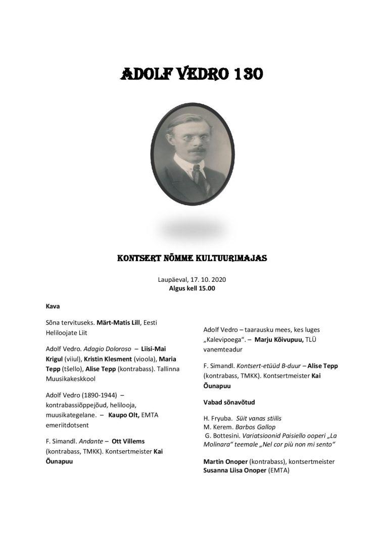 """kontsert """"Adolf Vedro 130"""""""